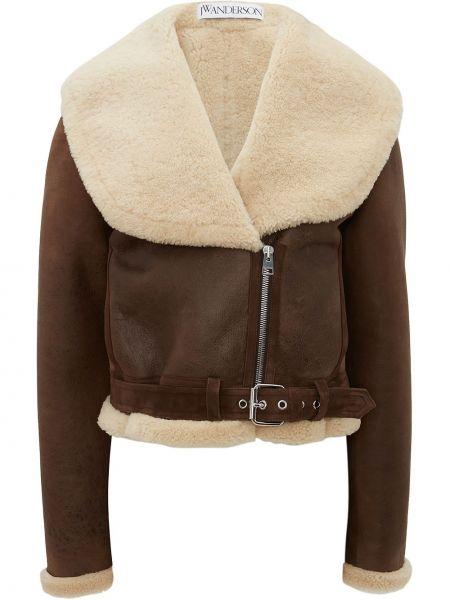 Кожаная куртка с воротником - коричневая Jw Anderson