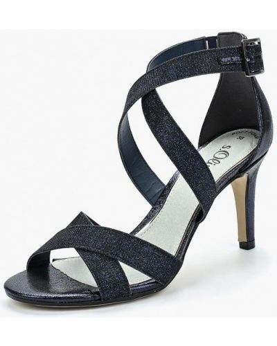 Синие босоножки на каблуке S.oliver