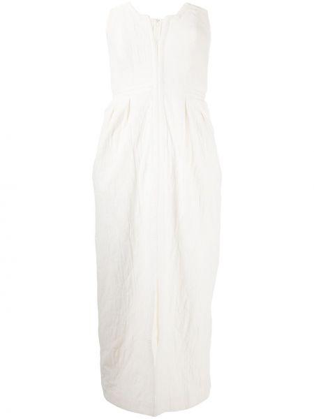 Белое льняное приталенное платье с карманами Mara Hoffman