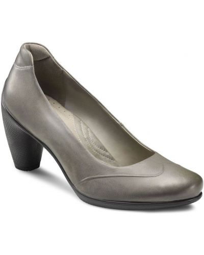 Туфли на каблуке кожаные серые Ecco