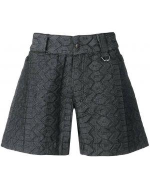 Джинсовые шорты с вышивкой - черные Ktz