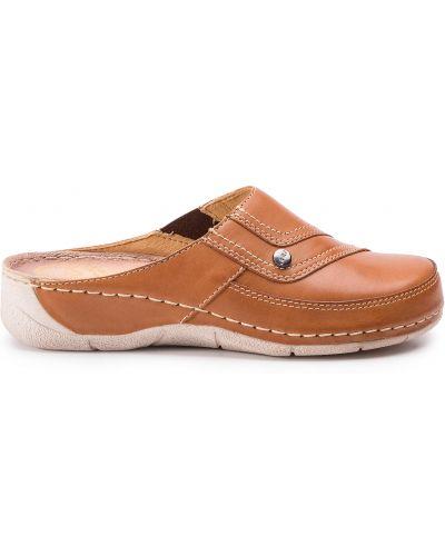 Шлепанцы на каблуке - коричневые Waldi
