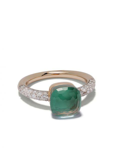 Niebieski złoty pierścionek z diamentem Pomellato