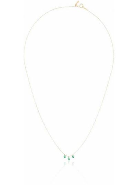 Zielony złoty naszyjnik szmaragd Persée