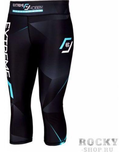 Бирюзовые кожаные спортивные брюки на резинке Extreme Hobby