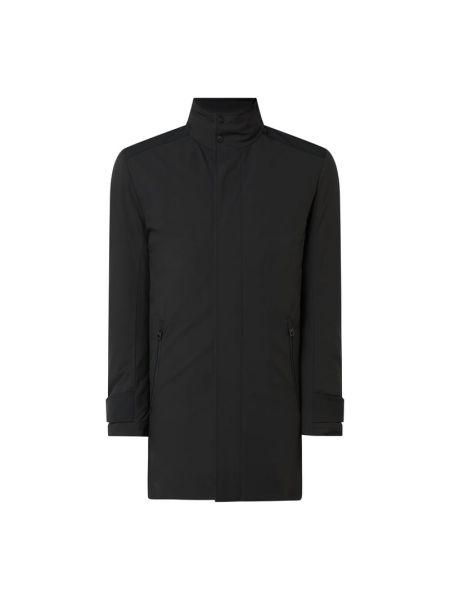 Czarny płaszcz z kieszeniami z zamkiem błyskawicznym od płaszcza przeciwdeszczowego Hugo