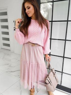 Różowa spódnica maxi tiulowa na co dzień Dstreet