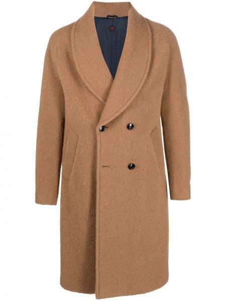 Brązowy długi płaszcz wełniany z długimi rękawami Mp Massimo Piombo