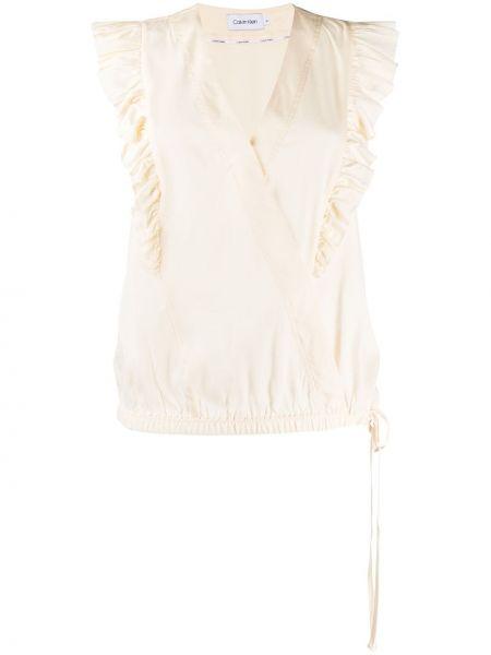 Белый топ с V-образным вырезом без рукавов из вискозы Calvin Klein