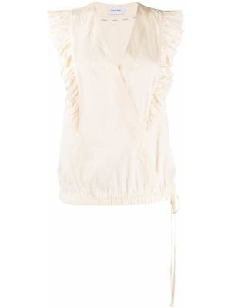 Bluzka bez rękawów na gumce biała Calvin Klein