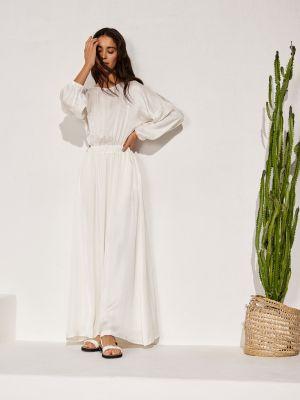 Молочное платье миди с поясом из вискозы 12storeez