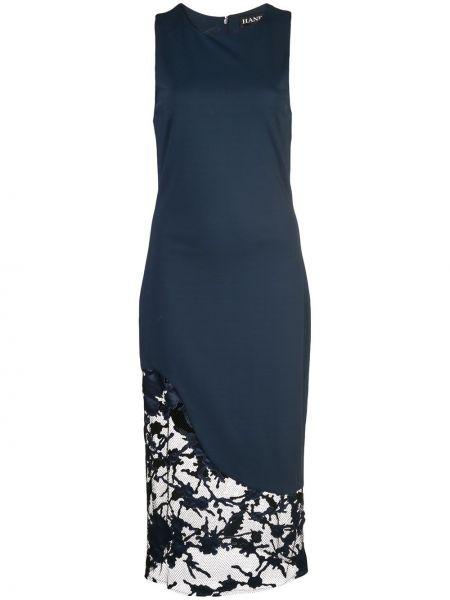 Niebieska sukienka koronkowa z wiskozy Haney