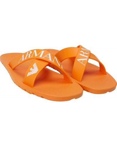 Оранжевые пляжные шлепанцы Armani Junior