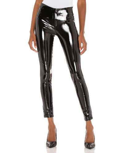 Czarne legginsy skorzane do pracy Blanknyc