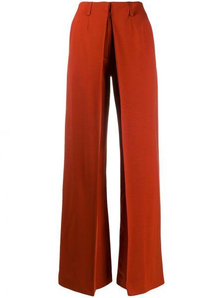 Pomarańczowe spodnie z wysokim stanem z paskiem Aalto