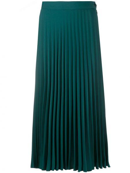 С завышенной талией зеленая плиссированная юбка миди Mm6 Maison Margiela