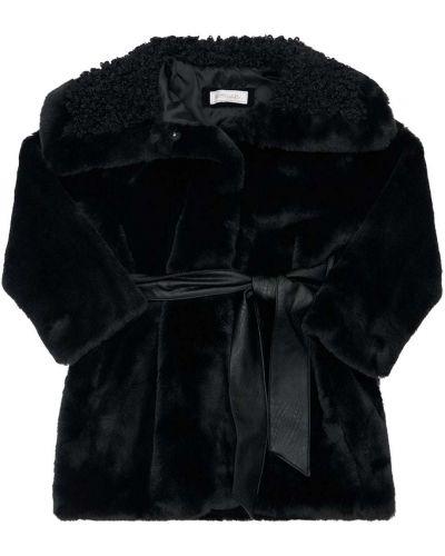 Пальто с поясом - черное Monnalisa