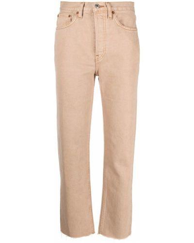Beżowy z wysokim stanem klasyczny jeansy z kieszeniami Re/done