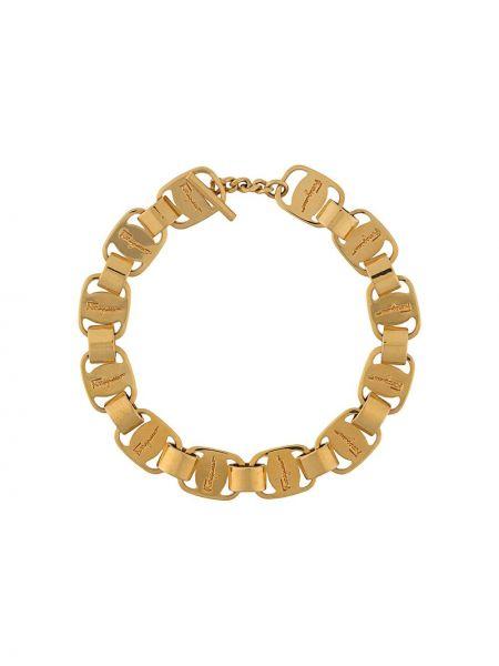 Золотистый желтый браслет металлический позолоченный Salvatore Ferragamo Pre-owned