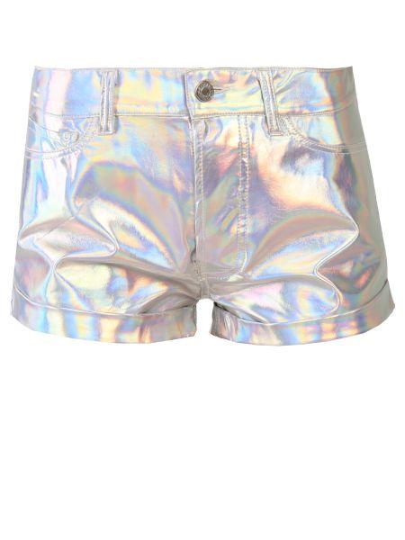 Серебряные короткие шорты с воротником с карманами на пуговицах Forte Couture