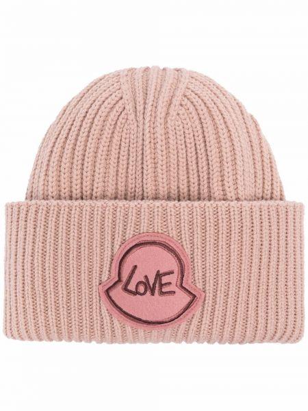 Różowa czapka prążkowana Moncler