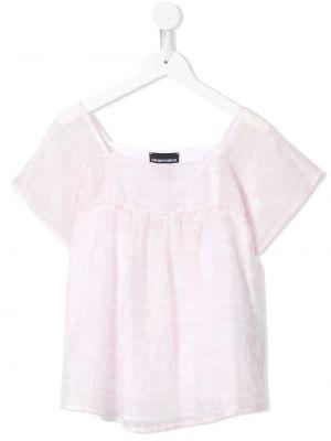 Шелковая с рукавами блузка с вырезом Emporio Armani Kids