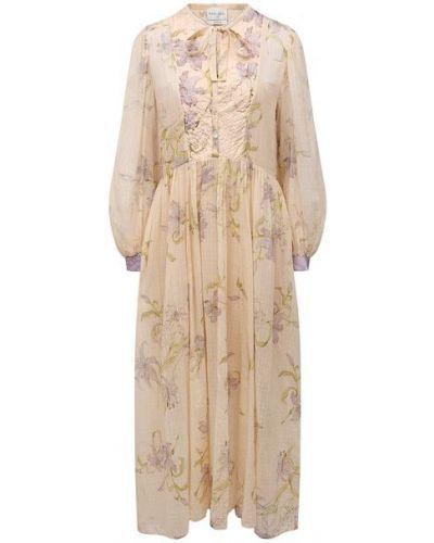 Шелковое бежевое платье с подкладкой Forte_forte