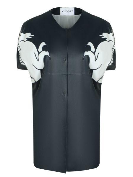 Белый кожаный пиджак с коротким рукавом на кнопках с короткими рукавами Vionnet