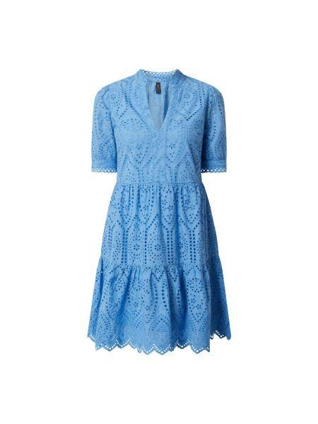 Niebieska sukienka mini rozkloszowana koronkowa Y.a.s