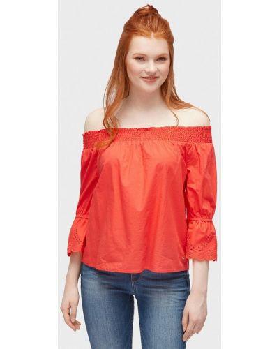 Блузка с открытыми плечами красная Tom Tailor Denim