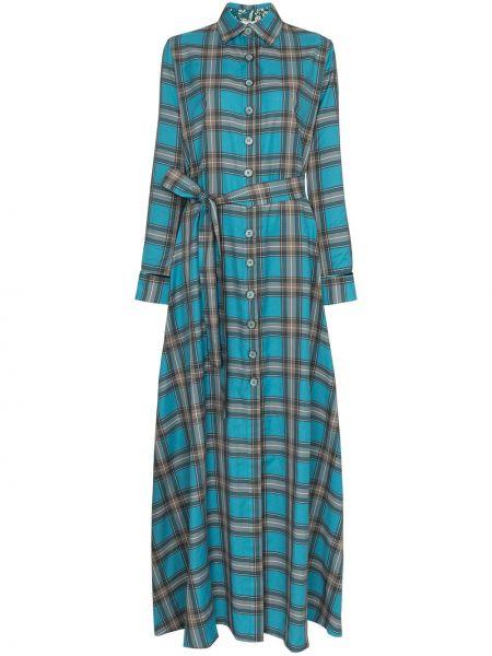 Niebieska sukienka długa z długimi rękawami Evi Grintela