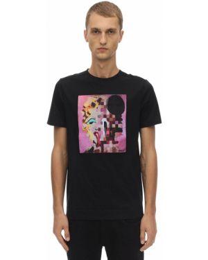 Prążkowany czarny t-shirt bawełniany Limitato