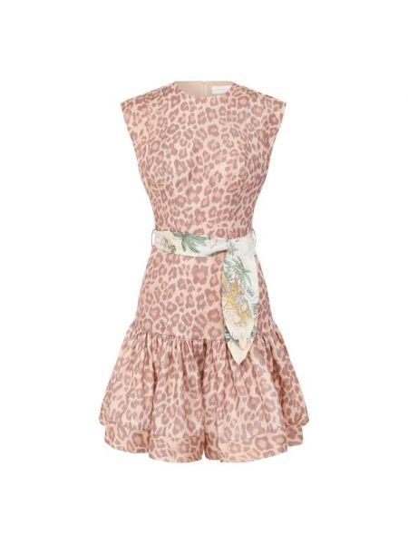 Платье с поясом леопардовое шелковое Zimmermann