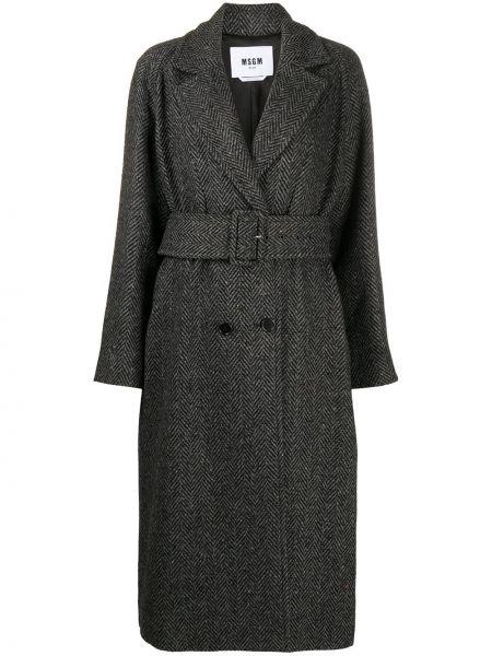 Пальто из альпаки - черное Msgm