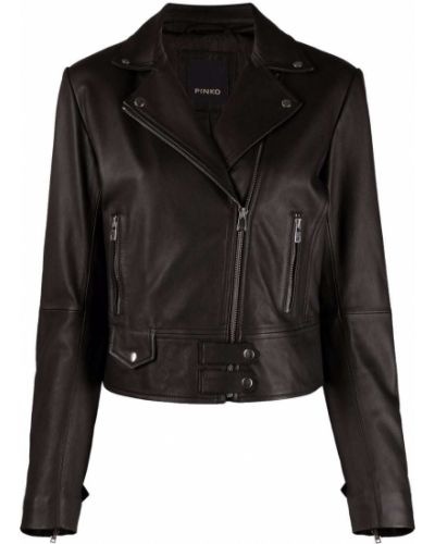 Черная кожаная длинная куртка байкерская Pinko