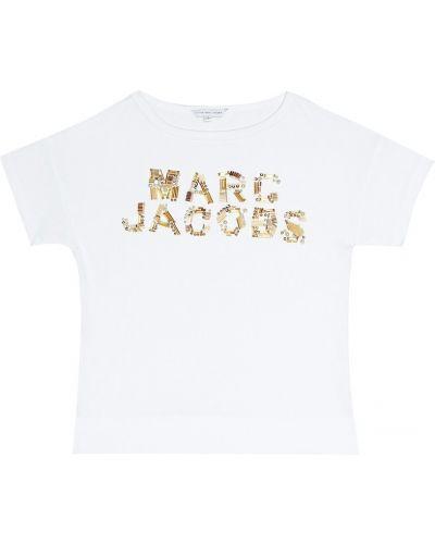 Рубашка белая с пайетками Little Marc Jacobs
