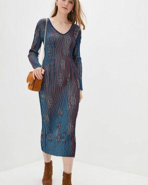 Клубное синее вязаное платье Nataclub