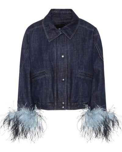 Джинсовая куртка с опушкой классическая Prada