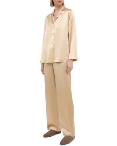 Бежевая пижамная шелковая пижама La Perla