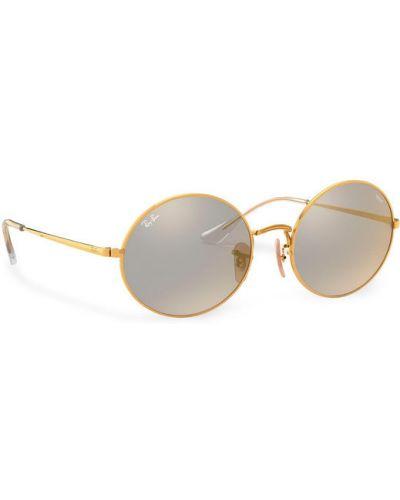 Złote żółte okulary Ray-ban