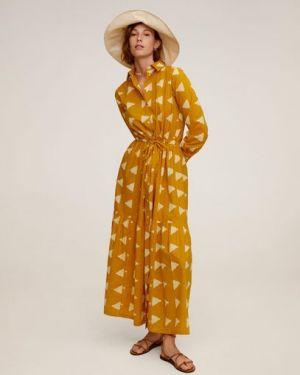 Платье с поясом на пуговицах классическое Mango