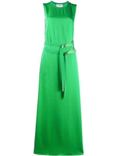 Зеленое платье макси с поясом с вырезом Iceberg