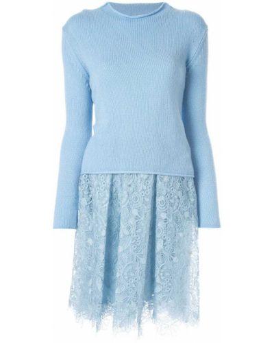 Синее нейлоновое ажурное платье миди с вырезом Ermanno Scervino