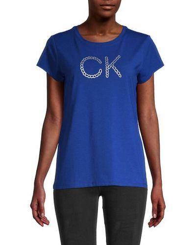 Niebieski t-shirt bawełniany krótki rękaw Calvin Klein