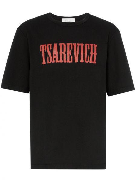 Czarny t-shirt bawełniany z printem Linder