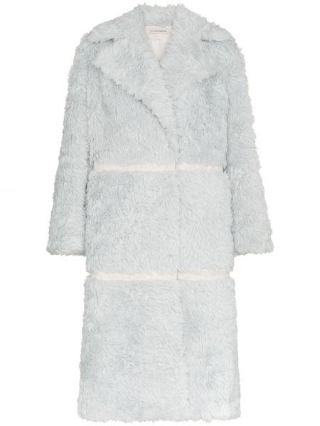 Синее пальто с воротником из альпаки двубортное Vika Gazinskaya