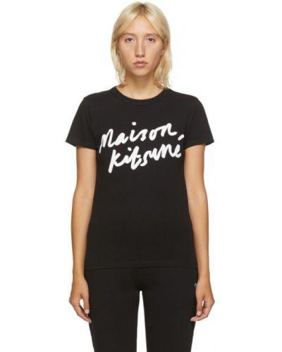 Хлопковая черная классическая рубашка с воротником с короткими рукавами Maison Kitsuné