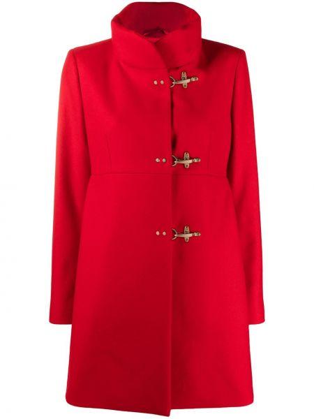 Красный с рукавами однобортный шерстяной дафлкот Fay