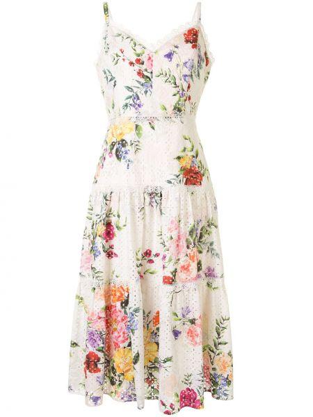 Платье миди с вышивкой с цветочным принтом Marchesa Notte