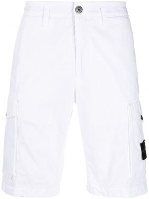 Шорты с карманами - белые Stone Island Junior